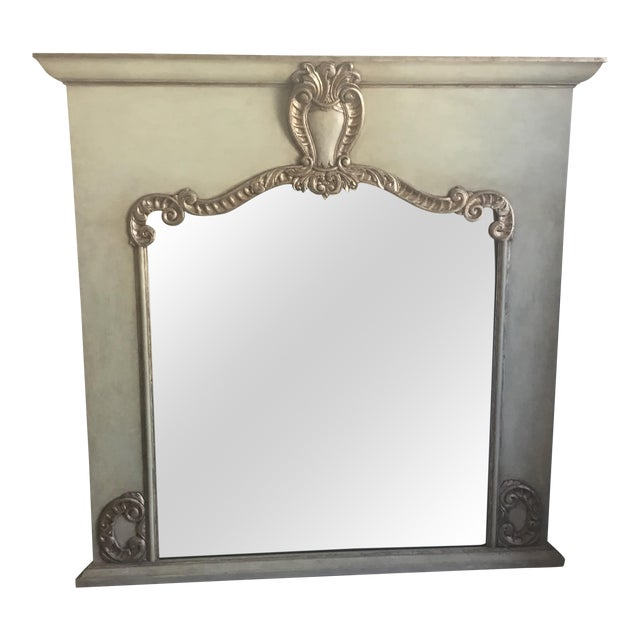 Contemporary Antiqued Silver Fireplace Mirror For Sale - Image 9 of 9