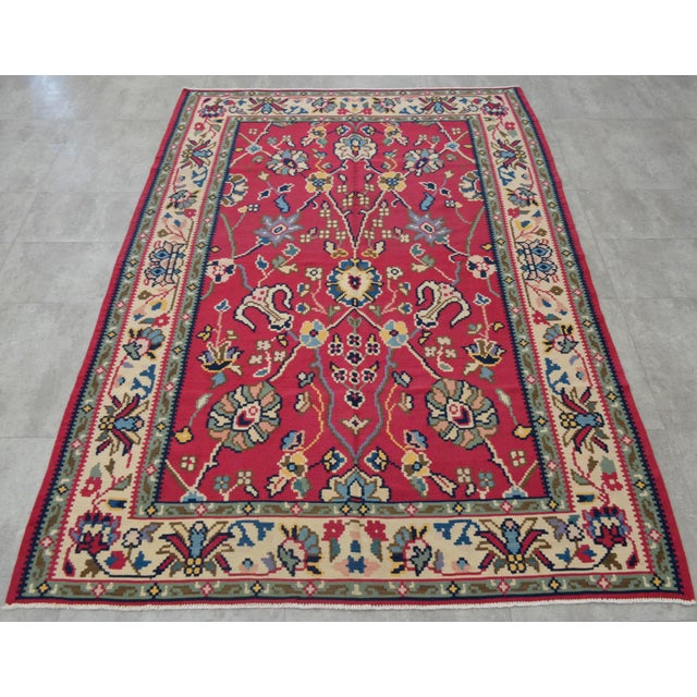 1960s Vintage Hand Woven Wool Floral Kilim - 5′2″ × 7′6″ For Sale - Image 5 of 8