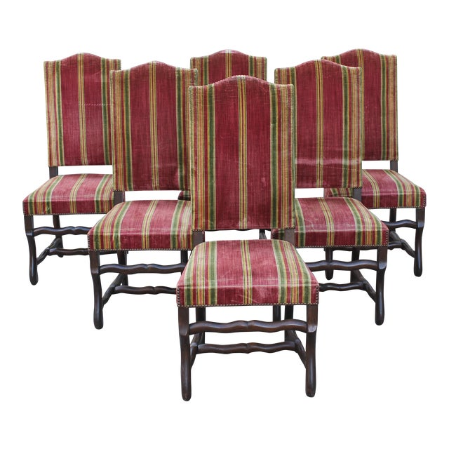 Monumental Set Of Louis XIII Style Solid Walnut Os De Mouton Dining Chairs - Set of 6 - Image 1 of 11