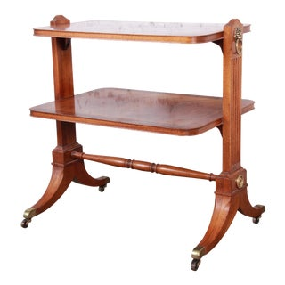 Baker Furniture Georgian Banded Mahogany Two-Tier Side Table For Sale