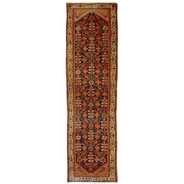 1900s Handmade Antique Persian Malayer Runner 3.1' X 12.3' For Sale - Image 9 of 9