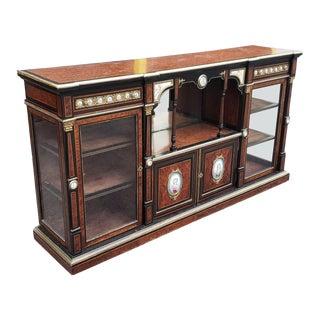 Antique French Victorian Napoleon III Ebonized & Amboyna Credenza Cabinet W/ Sevres Plaques C1860 For Sale