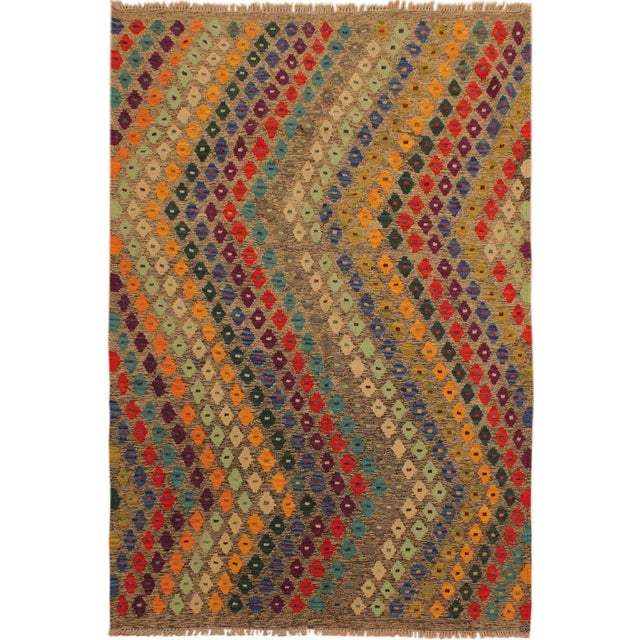 Brown Abstract Southwestern Tribal Manuel Gray/Blue Hand-Woven Kilim Wool Rug -5'0 X 6'8 For Sale - Image 8 of 8