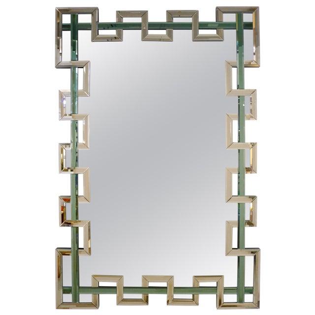 Contemporary Italian Geometric Murano Glass Mirror With Aqua Green Ribbon For Sale - Image 13 of 13