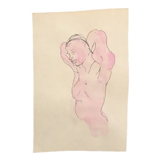 Mid-Century Posing Nude Watercolor Painting For Sale