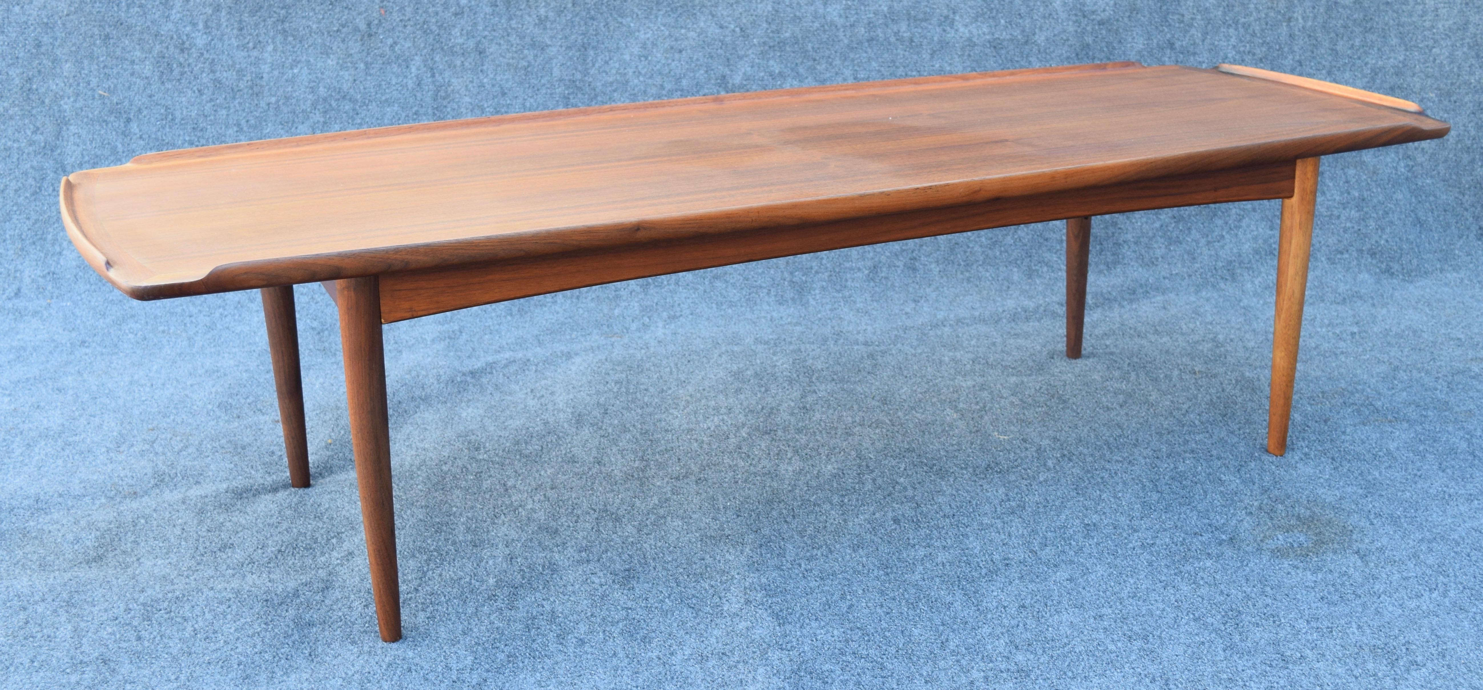 Poul Jensen For Selig Vintage Danish Modern Teak Coffee Table   Image 5 Of 9