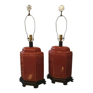 Vintage Orange Oriental Brass Ceramic Chinoiserie Table Lamps - A Pair For Sale