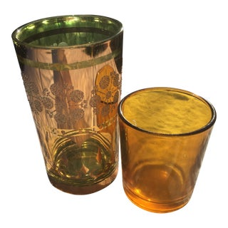 Vintage Golden Drinking/Shot Glasses - a Pair For Sale