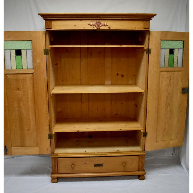 Pine Two Door Armoire With Art Glass Panels For Sale - Image 11 of 13