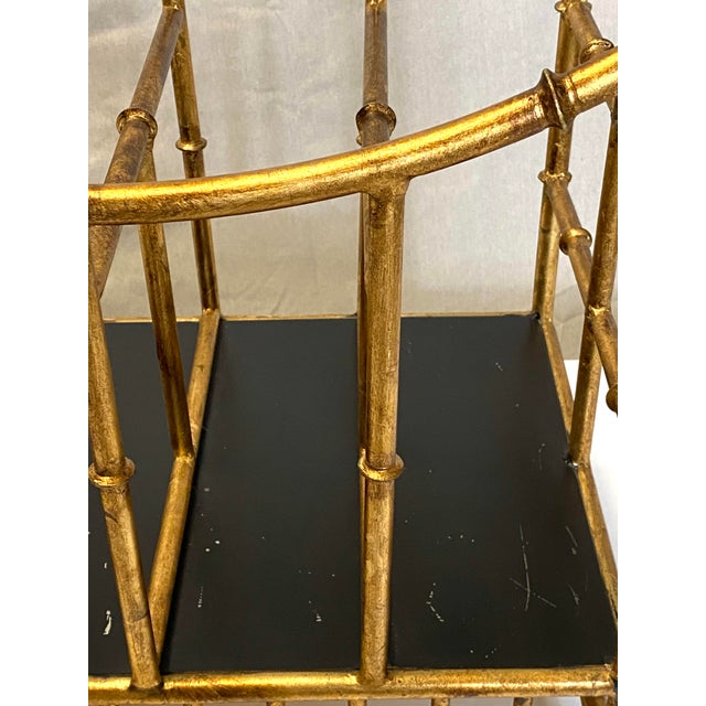 Beautiful Vintage Gilt Gold Canterbury Magazine Rack Stand Asian Style Fabulous For Sale In New York - Image 6 of 8