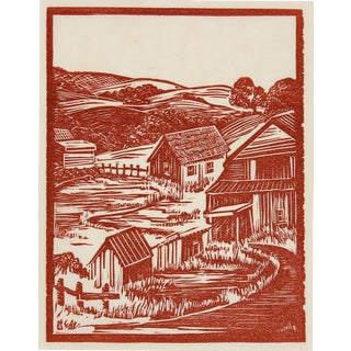 1940s Vintage Linoleum Block Print by Mary Watterick Evans For Sale