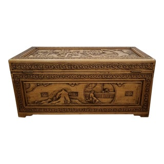 Vintage Chinese Hand Carved Camphor Trunk For Sale