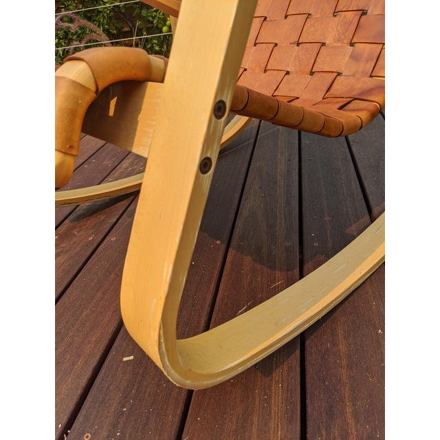 1950s Wood and Leather Dwr Dondola Rocker For Sale In San Diego - Image 6 of 8