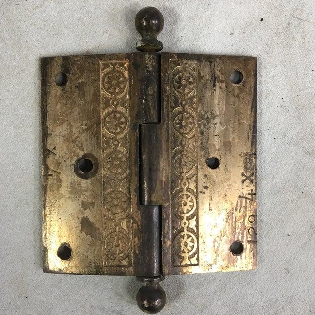 Antique Victorian Eastlake Brass Door Hinge For Sale - Image 10 of 11