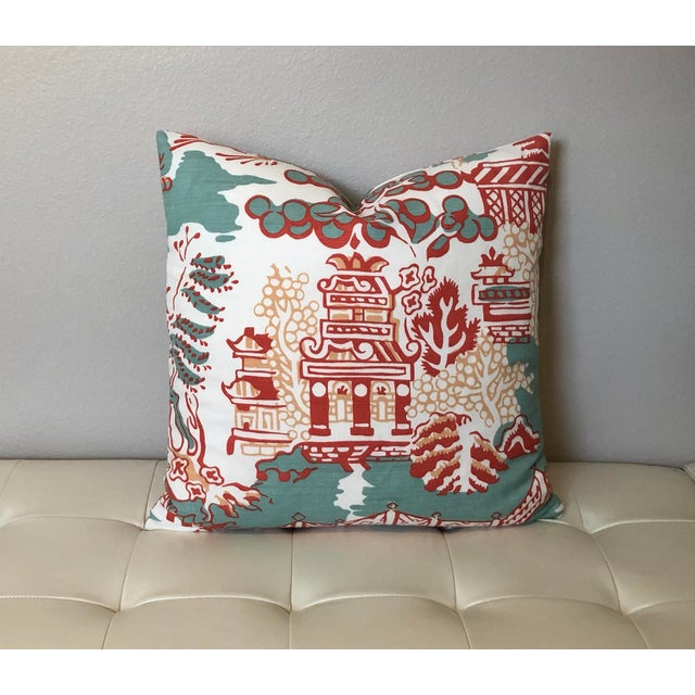 Thibaut Luzon in Aqua and Coral Pillow Cover For Sale In Tampa - Image 6 of 6