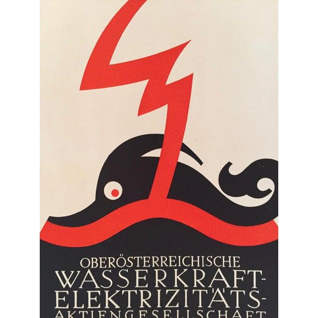 Art Deco 1927 Julius Klinger Original Poster, Wasserkraft Elektrizitats (Poseidon) For Sale - Image 3 of 5