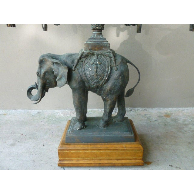 1970s 1970's Vintage Maitland Smith Bronze Leather & Glass Elephant Table For Sale - Image 5 of 13