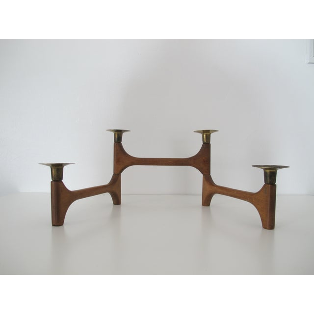 Mid-Century Wood and Brass Candelabra - Image 8 of 8