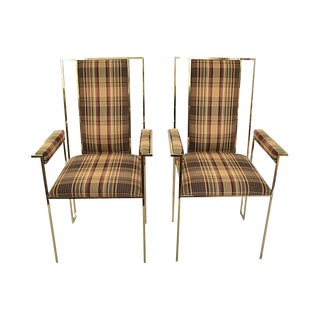 Modern Plaid & Brass Side Chairs - A Pair For Sale