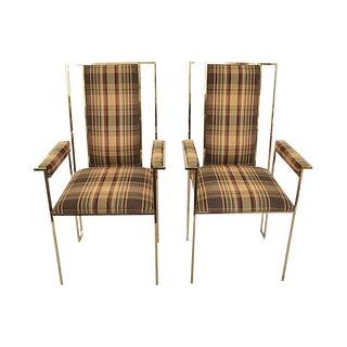 Modern Plaid & Brass Side Chairs - A Pair