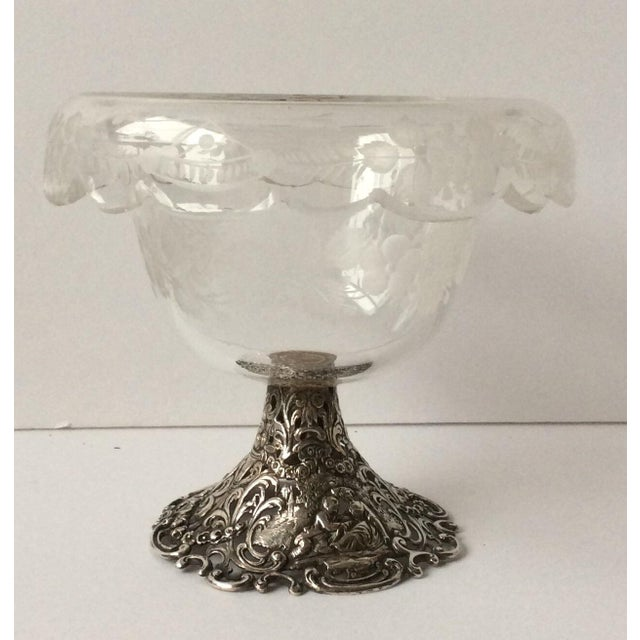 Beautiful antique 800 silver and etched and cut Crystal compote with Floral decorations and figures. Romantic scenes of...