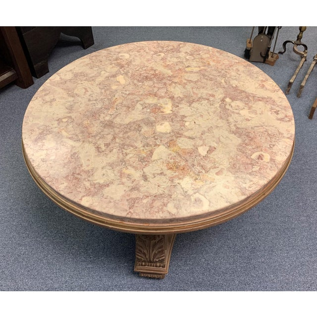 1950s Hollywood Regency Convertible Marble Top Cocktail Table For Sale - Image 4 of 13