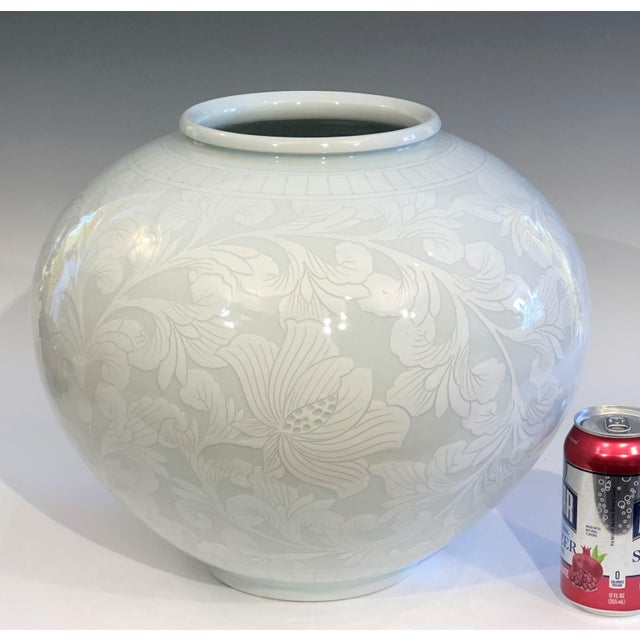 Korean Studio Porcelain Large Moon White Vase Carved Slip Peony Scroll Jar For Sale In New York - Image 6 of 7