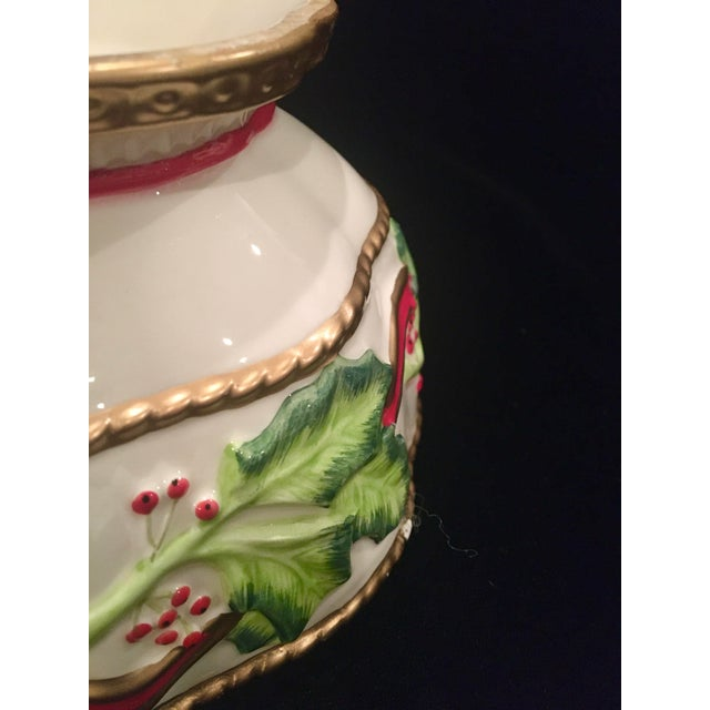 Late 20th Century Vintage Late 20th Century Fitz and Floyd Christmas Dish With Holly Berries For Sale - Image 5 of 10
