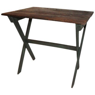 19th Century Sawbuck Table in Original Apple Green Paint For Sale