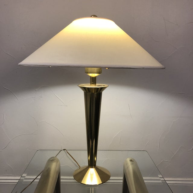 1970s Stiffel Modern Solid Brass Table Lamp with Original Shade For Sale - Image 5 of 13