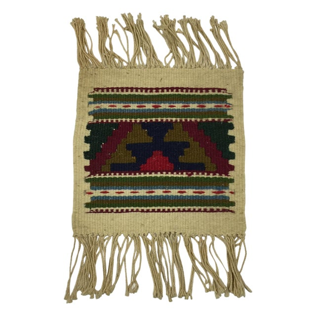 Miniature Hand Woven Zapotec Rug - 8″ × 1′1″ - Image 1 of 4
