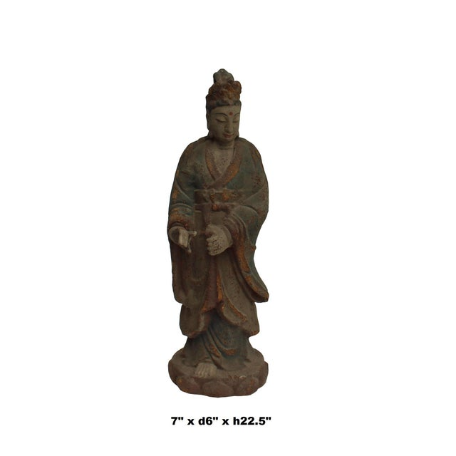 2010s Chinese Rustic Distressed Finish Wood Kwan Yin Bodhisattva Statue For Sale - Image 5 of 6