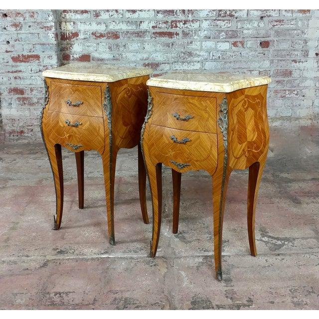 French 19th century marquetry petit Commodes- a Pair Fabulous pair of French marquetry petit commodes, bronze mounts...