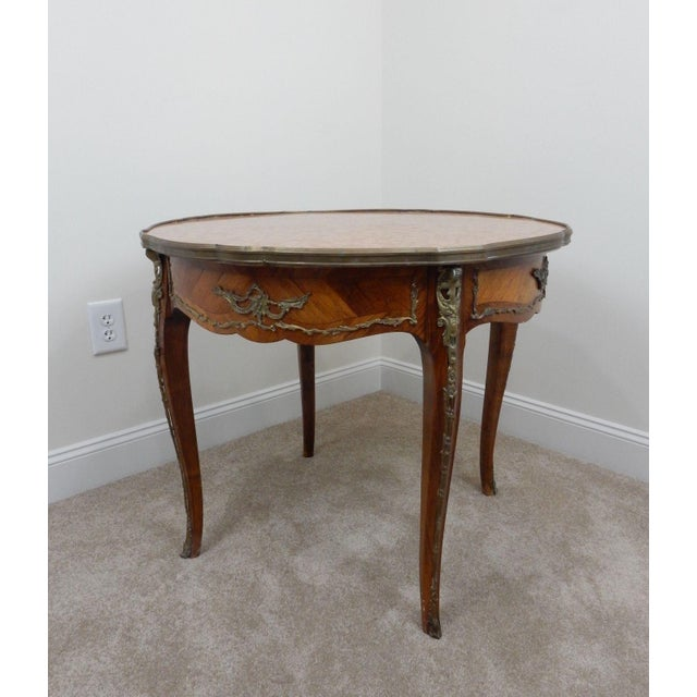 Antique French Inlaid Marble Top Table For Sale - Image 5 of 11