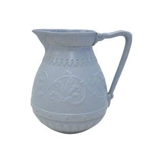 Antique English Salt Glazed Blue Jug For Sale