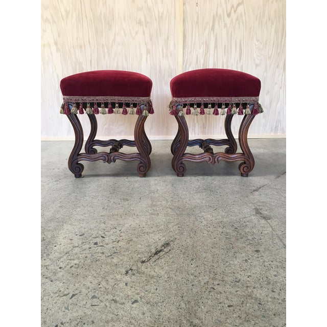 Wood 19th Century French Walnut Stools - a Pair For Sale - Image 7 of 9