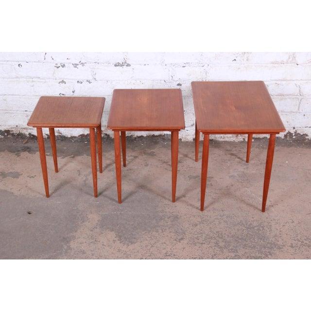 Wood Danish Modern Teak Nesting Tables - Set of 3 For Sale - Image 7 of 11