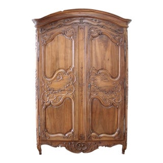 Antique European French Provincial Carved Roses Armoire Cabinet For Sale