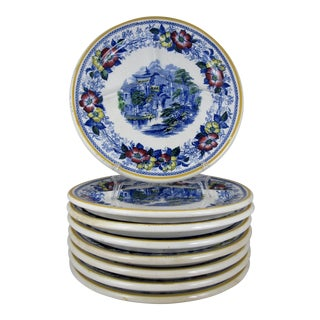 Ironstone Transferware Divided Grill Chop Plates - Set of 8 For Sale