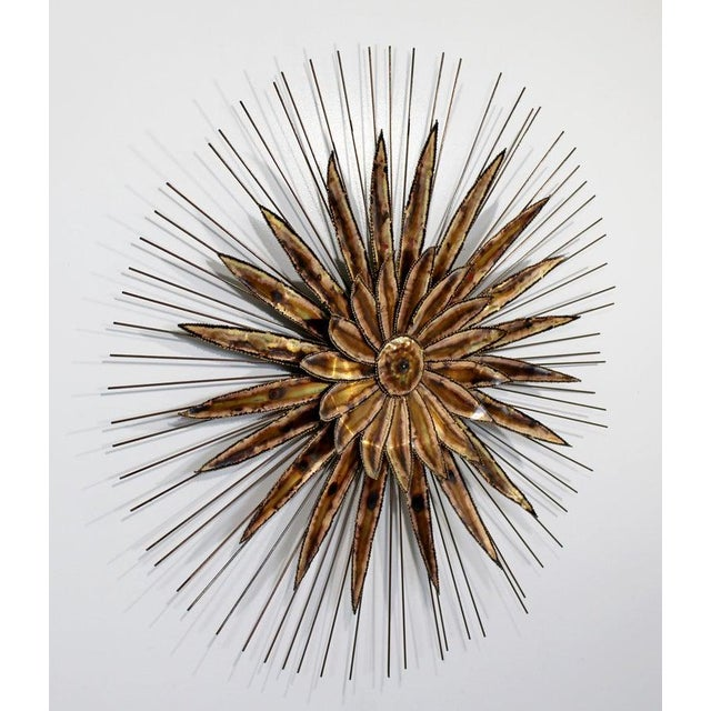 Curtis Jere Mid-Century Modern Curtis Jere Torchcut Style Brass Flower Wall Sculpture, 1970s For Sale - Image 4 of 8