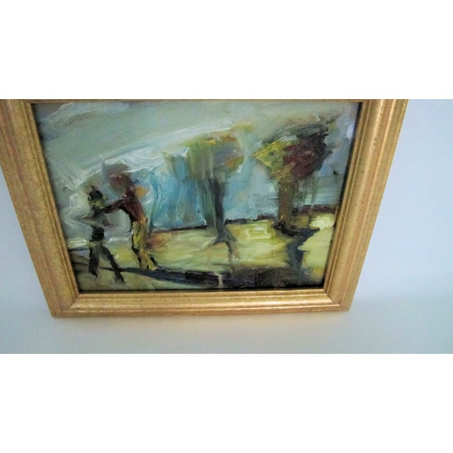 Figures & Trees Impressionistic Oil Painting - Image 3 of 5