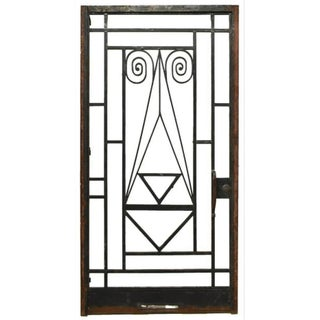Antique French Art Nouveau / Early Art Deco Architectural Wrought Iron Openwork Door Preview