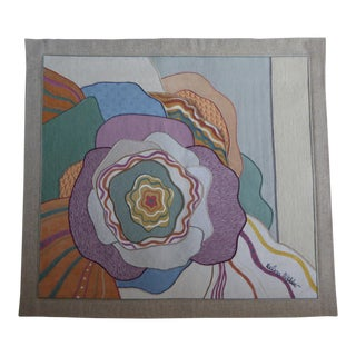 Vintage Floral Fabric Collage Tapestry by Helen Webber For Sale