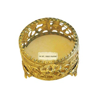 1960s Vintage 24k Gold-Plated Filigree Trinket Jewelry Keepsake Box For Sale