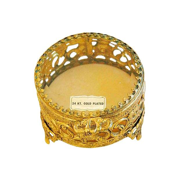 1960s Vintage 24k Gold-Plated Filigree Trinket Jewelry Keepsake Box For Sale