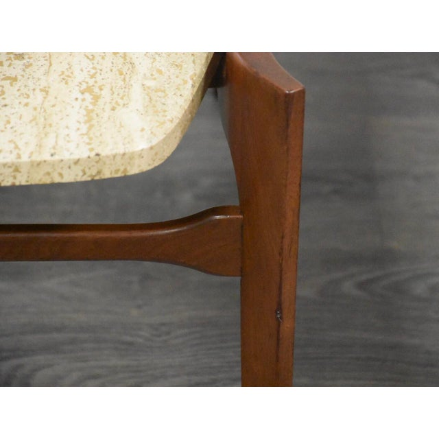 White Bertha Schaefer Walnut and Travertine End Tables - a Pair For Sale - Image 8 of 11