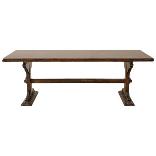 Italian Walnut Country Trestle Farm Dining Table For Sale
