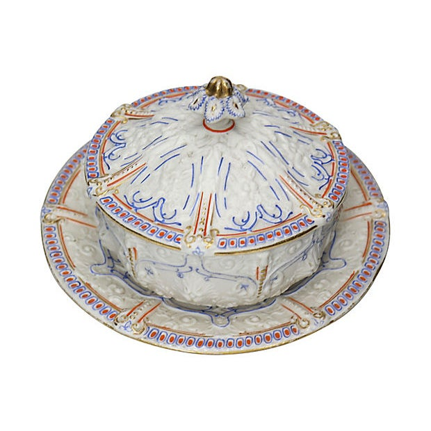 """Rare antique English salt glaze covered serving dish with undertray. Dimensions: bowl, 5""""Dia x 3.75""""H; undertray 6.75""""Dia..."""