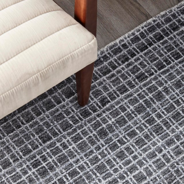Textile Wesley, Contemporary Modern Loom Knotted Area Rug, Charcoal, 4 X 6 For Sale - Image 7 of 10