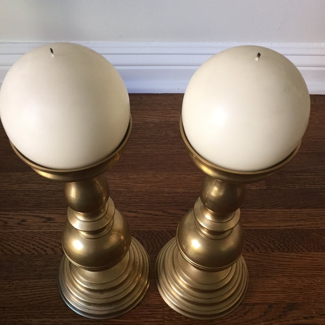 Brass Candlesticks with White Candles - A Pair - Image 5 of 6